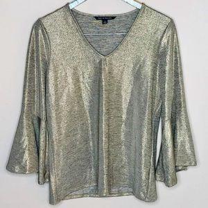 Zac & Rachel Metallic Silver Bell Sleeve Blouse